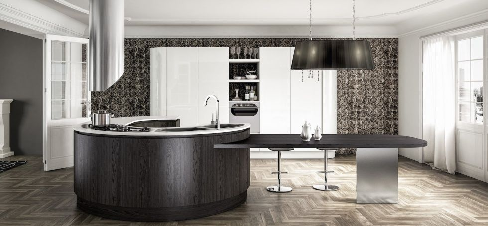 Contemporary kitchen / wooden / island / round - B50 - BERLONI