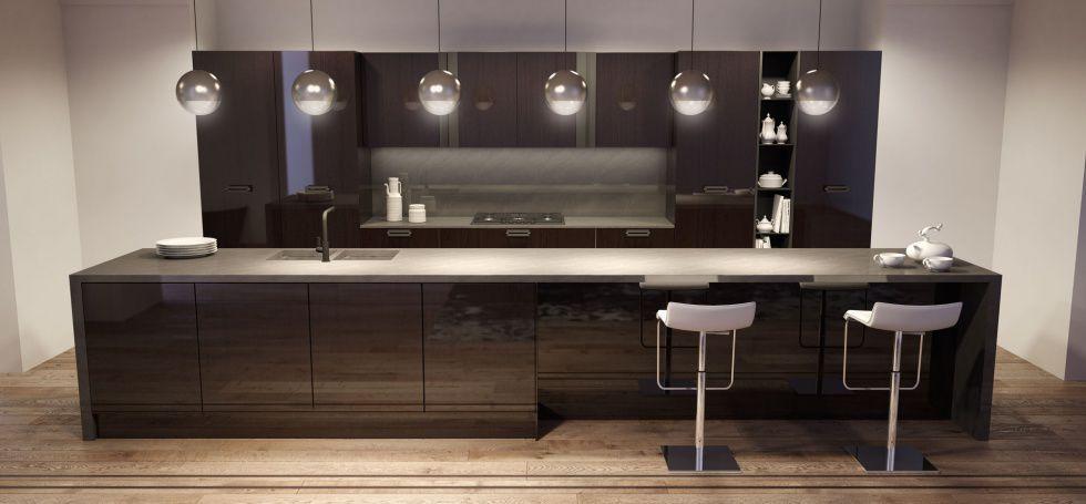 Contemporary kitchen / stainless steel / wood veneer / island ...