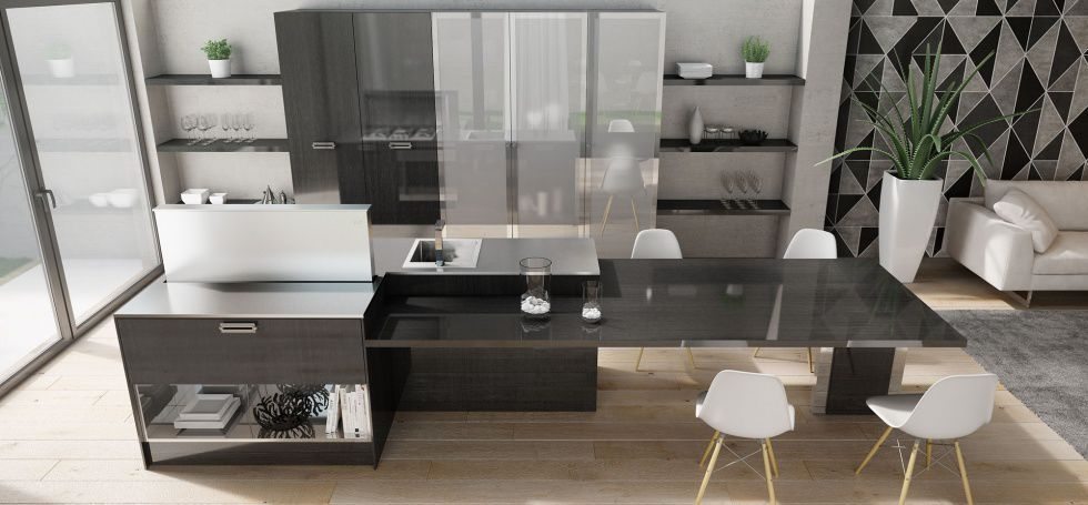 Contemporary kitchen / stainless steel / wood veneer / island - SOHO ...