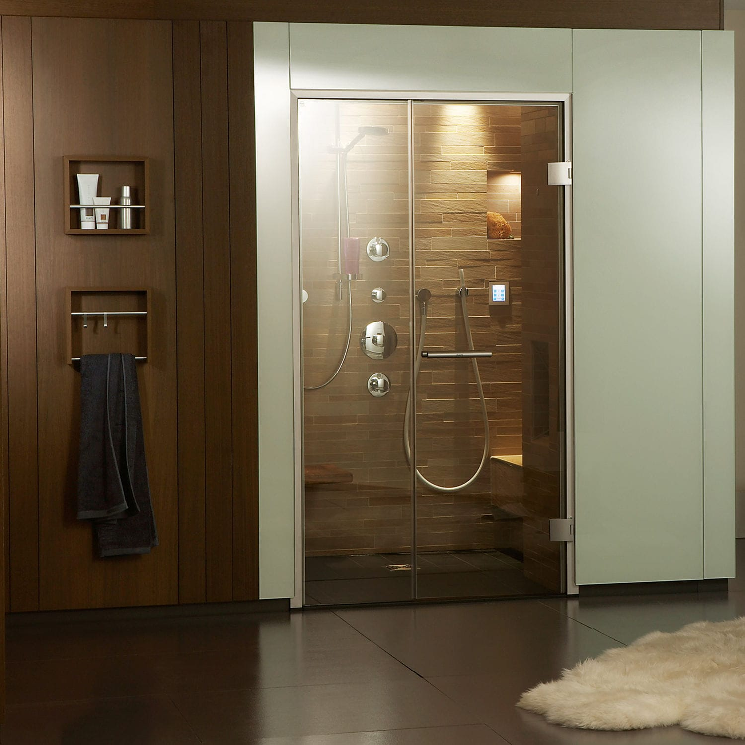 Steam shower cubicle / natural stone / rectangular / with hinged ...