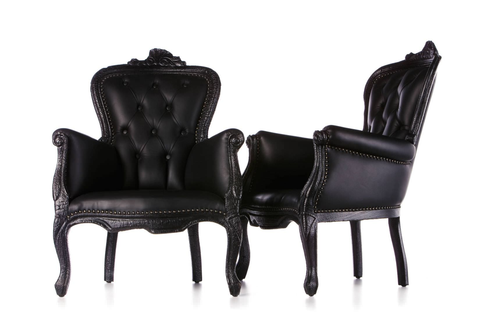 Classic Armchair Leather Wooden Black