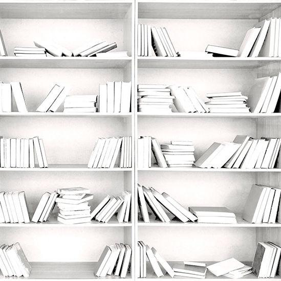 Contemporary Wallpaper Fabric Vinyl Bookshelf
