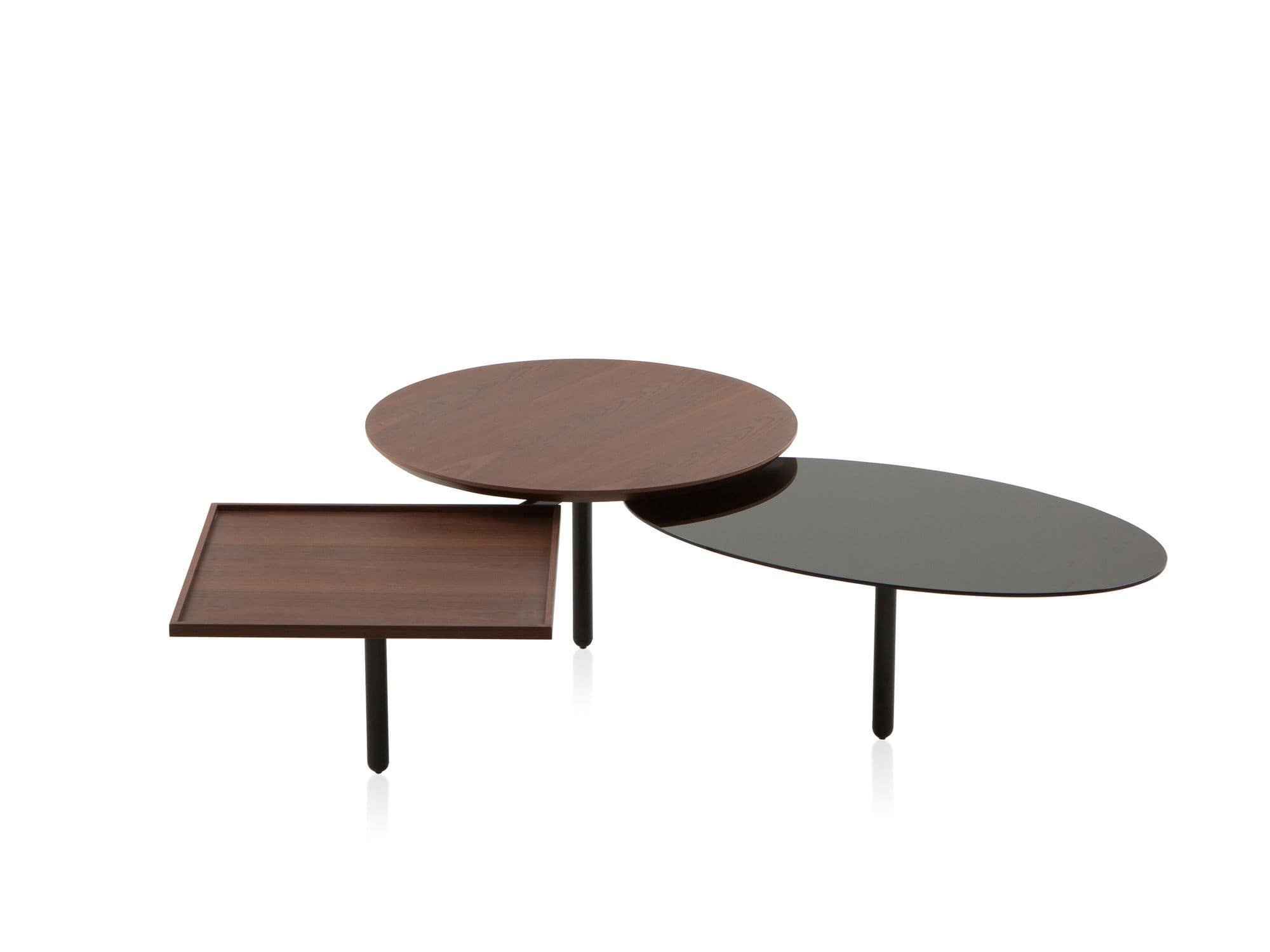 Contemporary coffee table glass metal round 3TABLE by