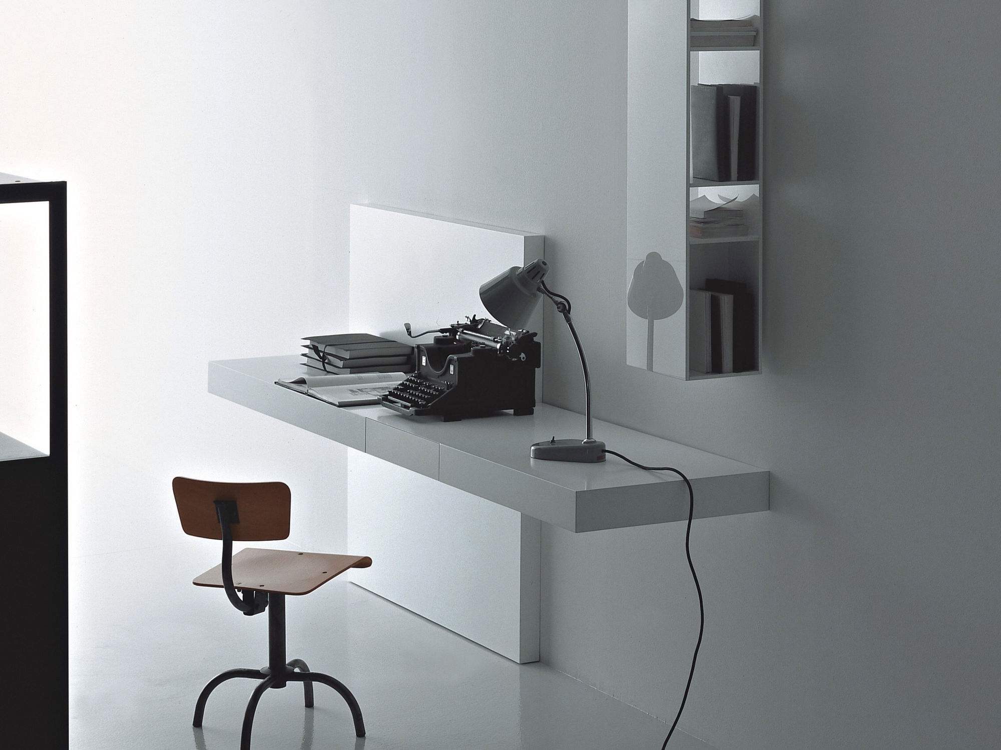 Contemporary Secretary Desk Wooden Lacquered Wood Wall Mounted Modern