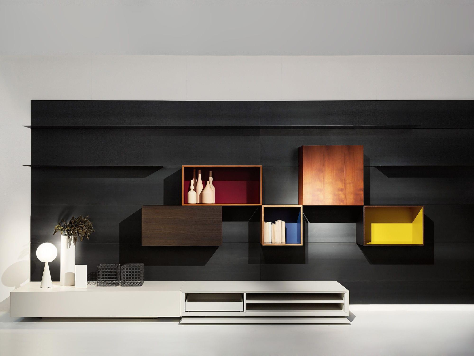 tv wall unit wooden by piero lissoni modern living porro