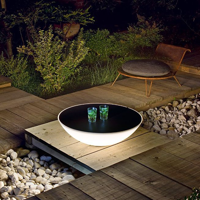 Contemporary Coffee Table Polyethylene Round Garden Solar