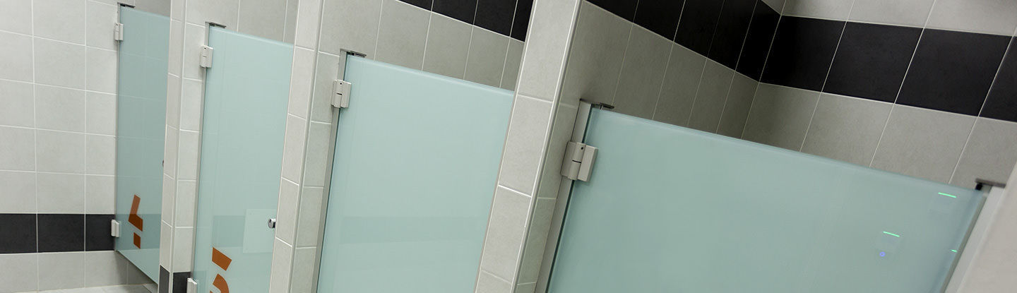 Glass shower cubicle / for public washroom / rectangular / with ...