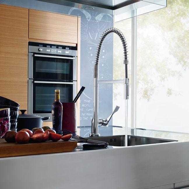 Chromed metal mixer tap / kitchen / 1-hole / swivel spout ...