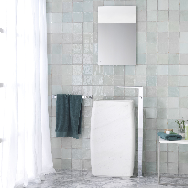 Free-standing washbasin / rectangular / natural stone / contemporary ...