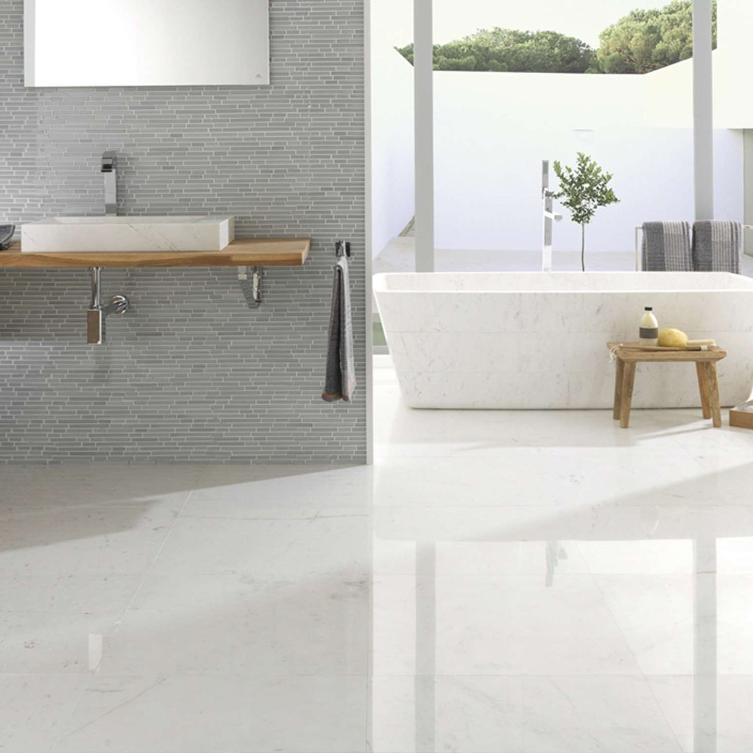 Indoor tile / bathroom / floor / marble - PERSIAN WHITE PULIDO - L ...