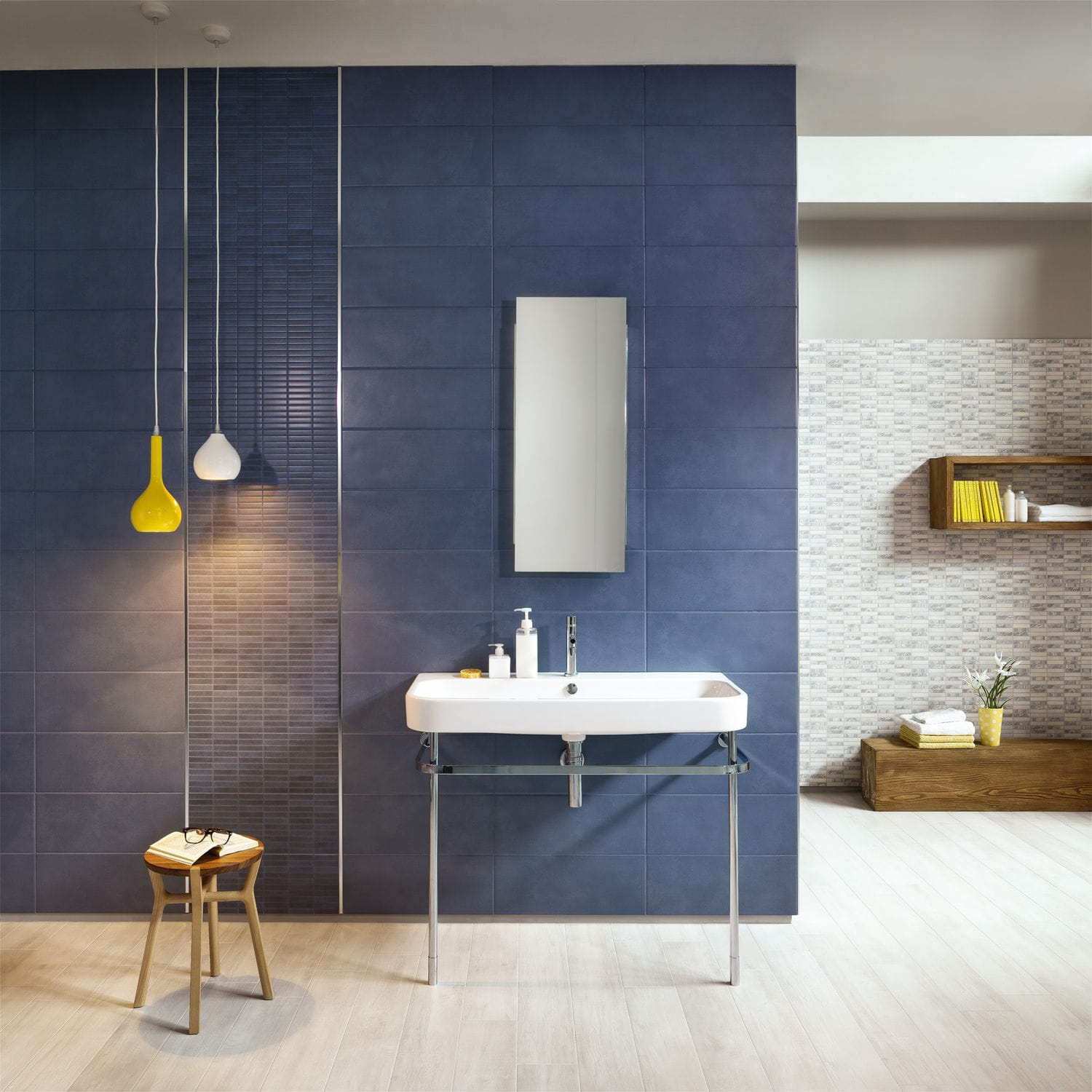 Bathroom tile / wall / porcelain stoneware / plain - SENSE : BLU ...