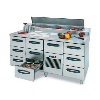 pizza prep table stainless steel with storage compartment pizzaproff