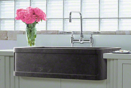 Single-bowl kitchen sink / marble / apron-front - FOR TOWN: L20303 ...