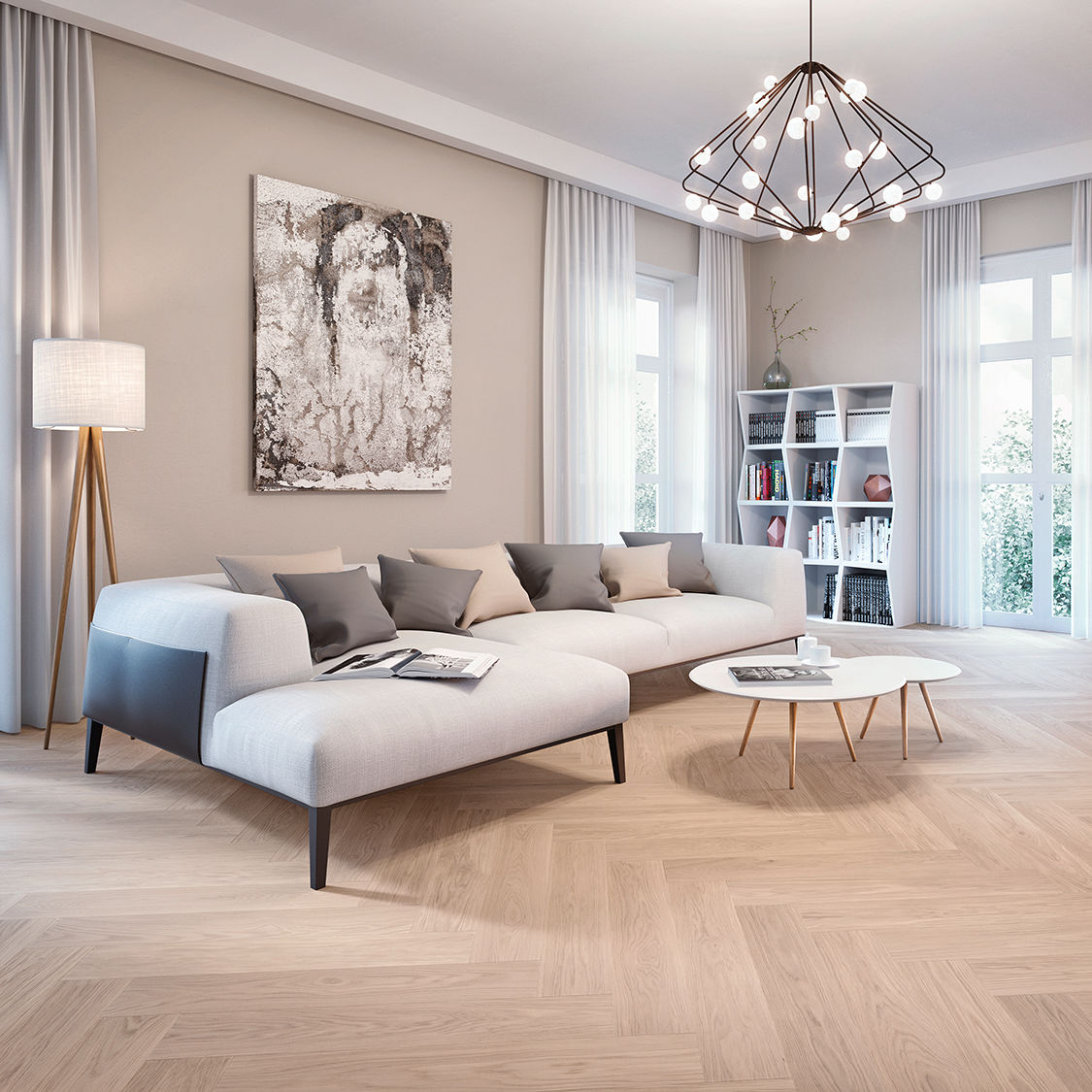 Engineered Parquet Floor Glued Floating Oak Clear Herringbone 90 White Oil