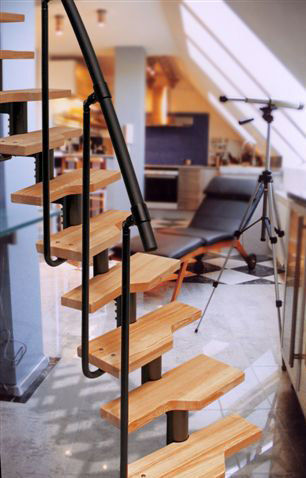 ... Circular Staircase / Metal Frame / Wooden Steps / Without Risers ...