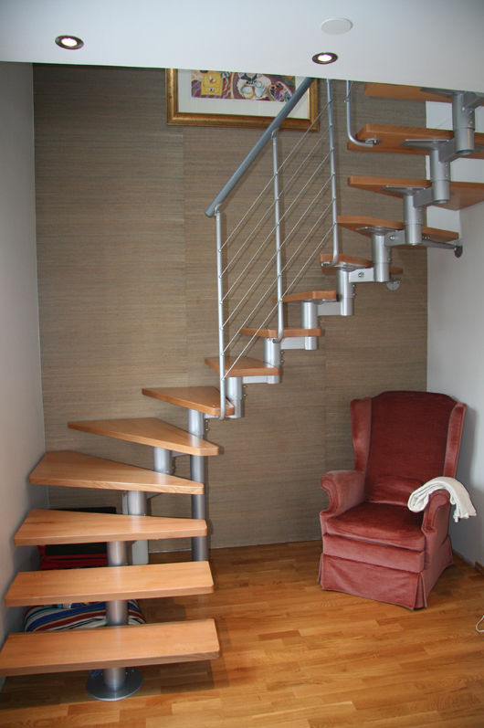 Delicieux ... Quarter Turn Staircase / Stainless Steel Frame / Wooden Steps / Without  Risers ...