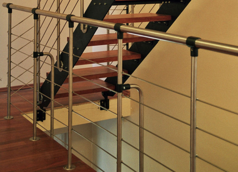 ... Straight Staircase / Metal Steps / Stainless Steel Frame / Without  Risers PROSTO Atrium ...