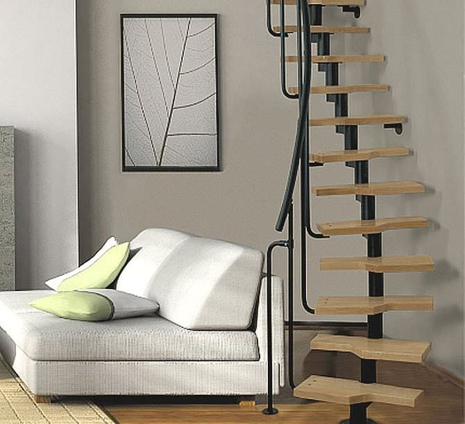 Circular Staircase / Metal Frame / Wooden Steps / Without Risers   MINI