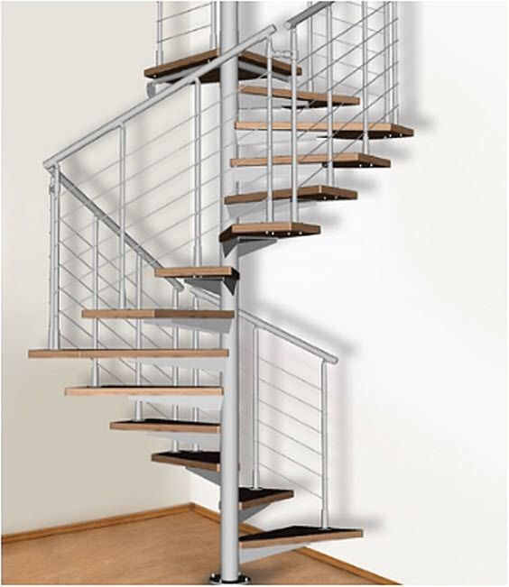 Square Spiral Staircase / Stainless Steel Frame / Wooden Steps / Without  Risers   QUADRATO
