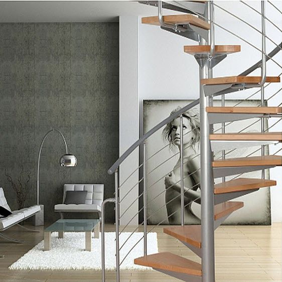 Spiral Staircase / Wooden Steps / Stainless Steel Frame / Without .