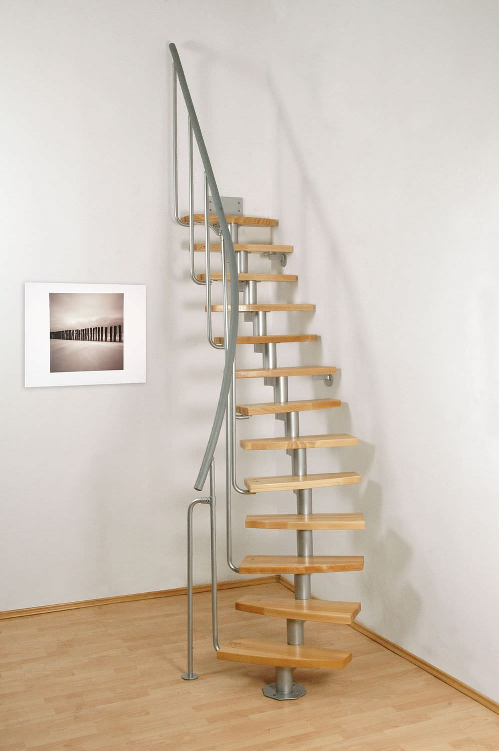 Circular Staircase / Metal Frame / Wooden Steps / Without Risers   MINI PLUS
