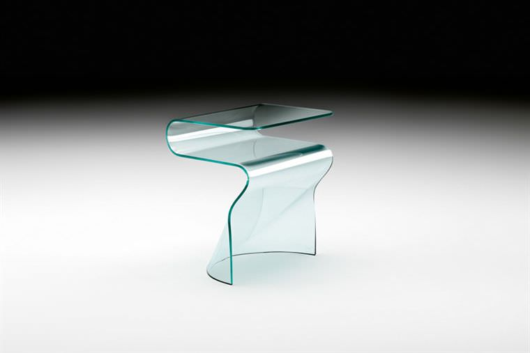 d5512ce38c ... contemporary side table / curved glass / rectangular / with magazine  rack ...