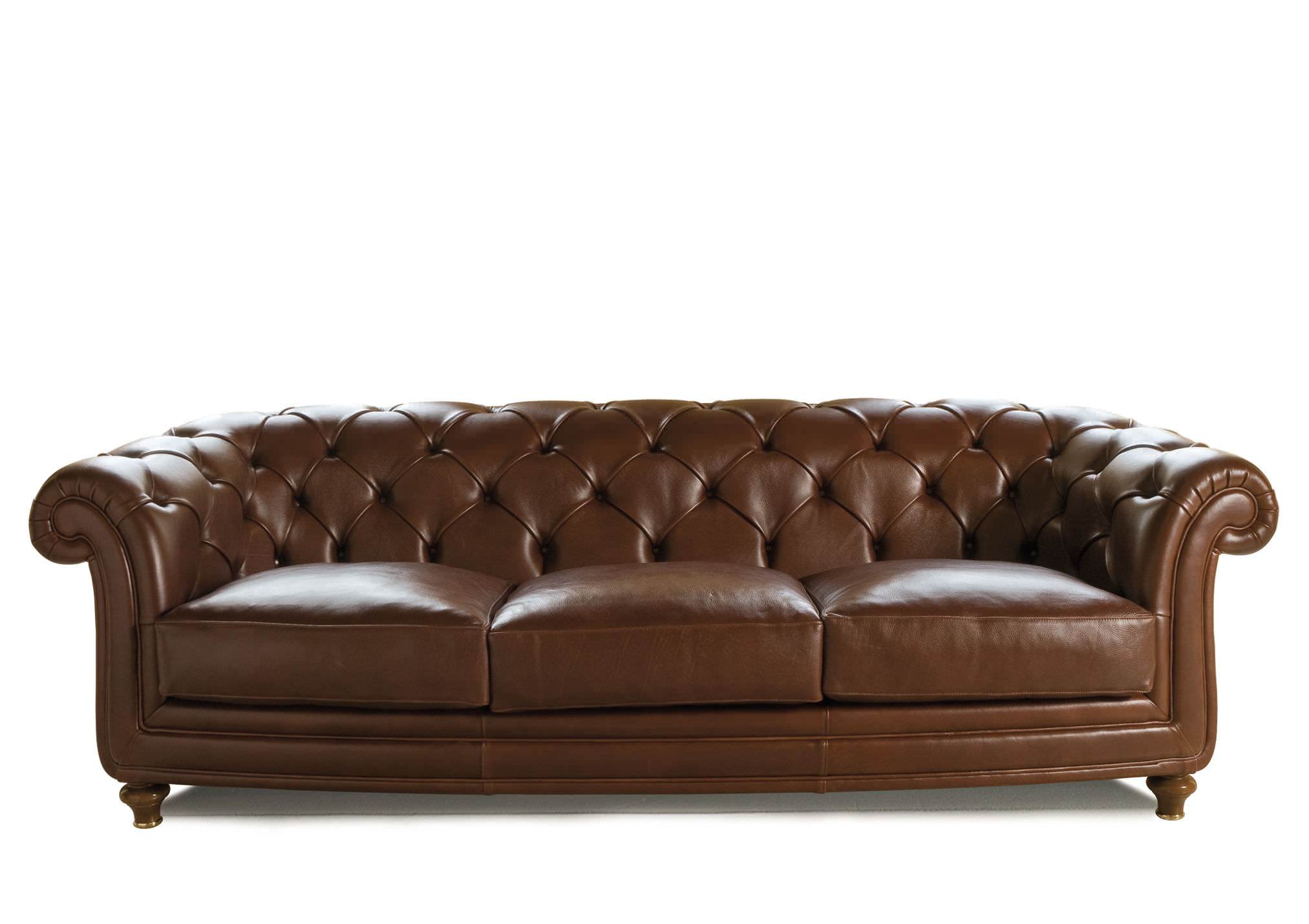 Chesterfield Sofa Leather Fabric 3 Seater