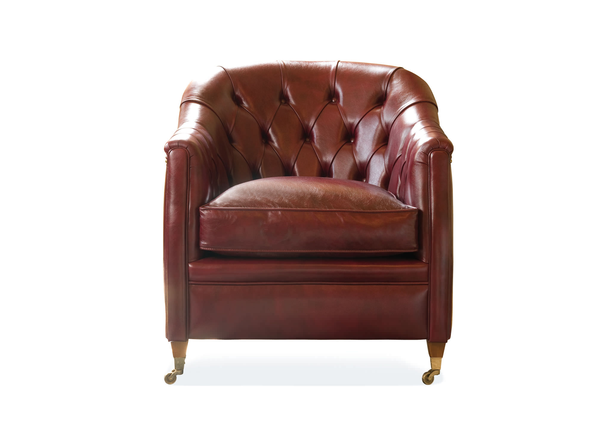 ... Chesterfield Armchair / Fabric / Leather / On Casters