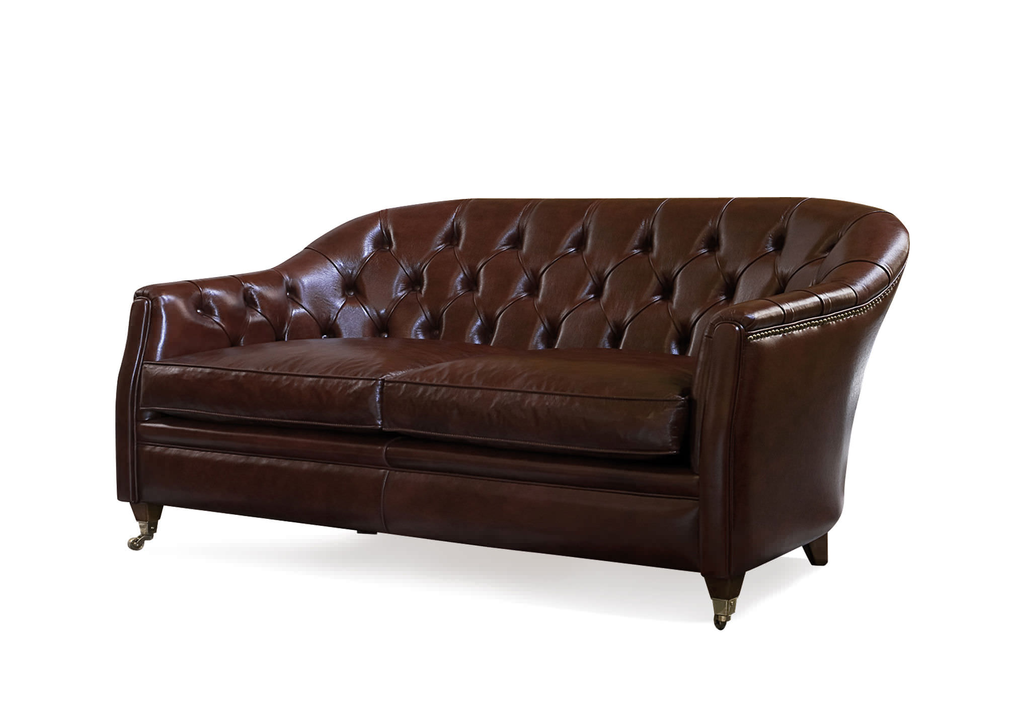 Traditional Sofa Leather Fabric 2 Person