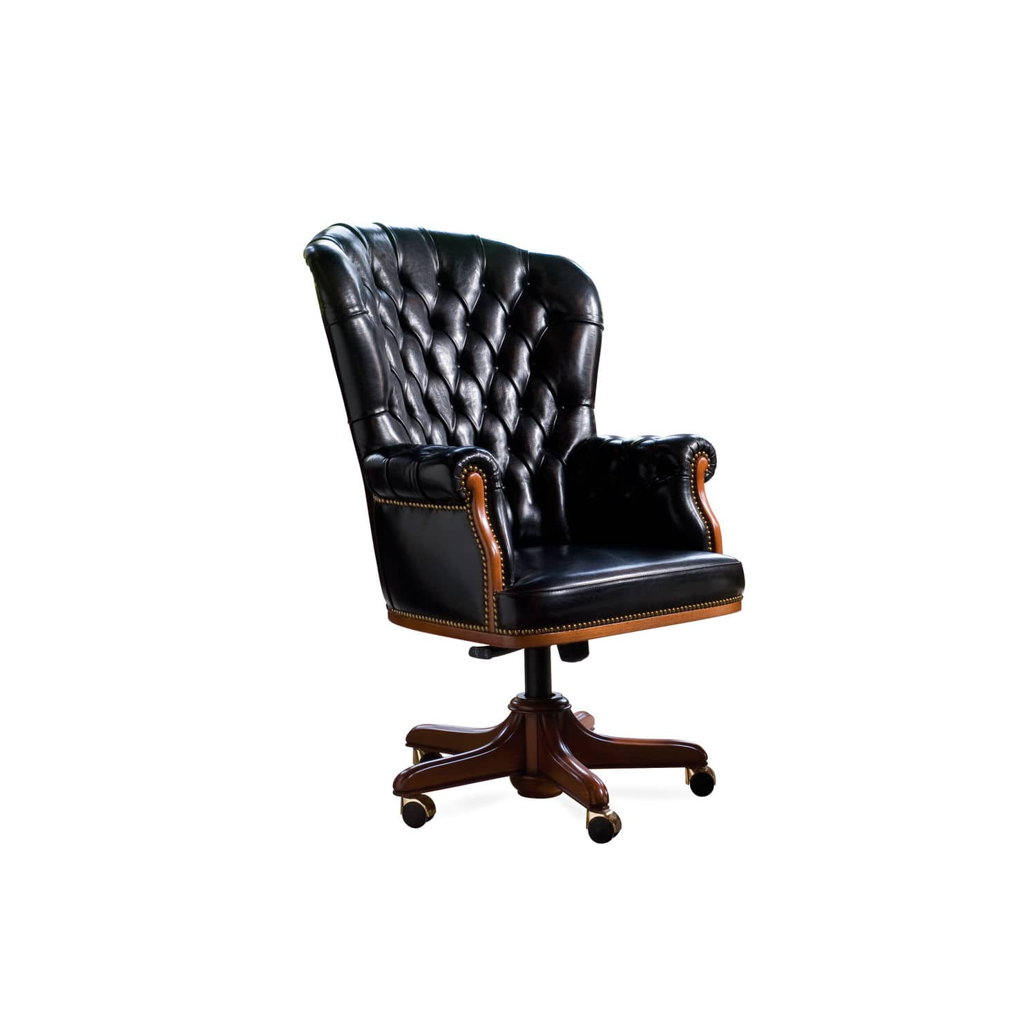 president office chair black. Chesterfield Executive Chair / Wooden Leather On Casters - PRESIDENT President Office Black