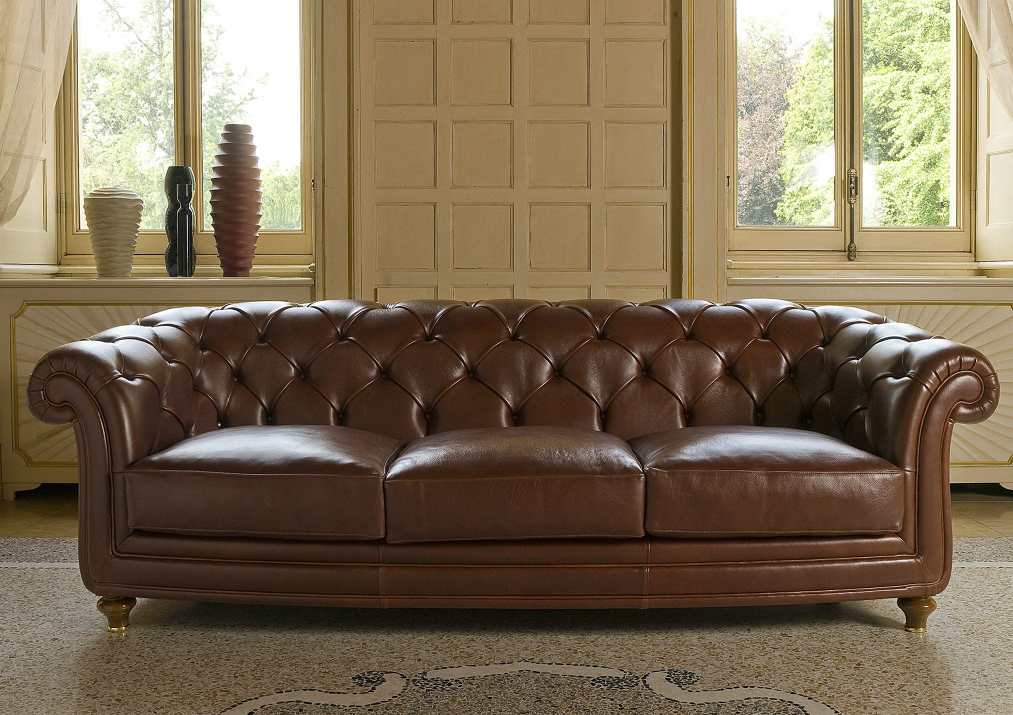 Chesterfield Sofa Leather Fabric 3 Seater Oxford