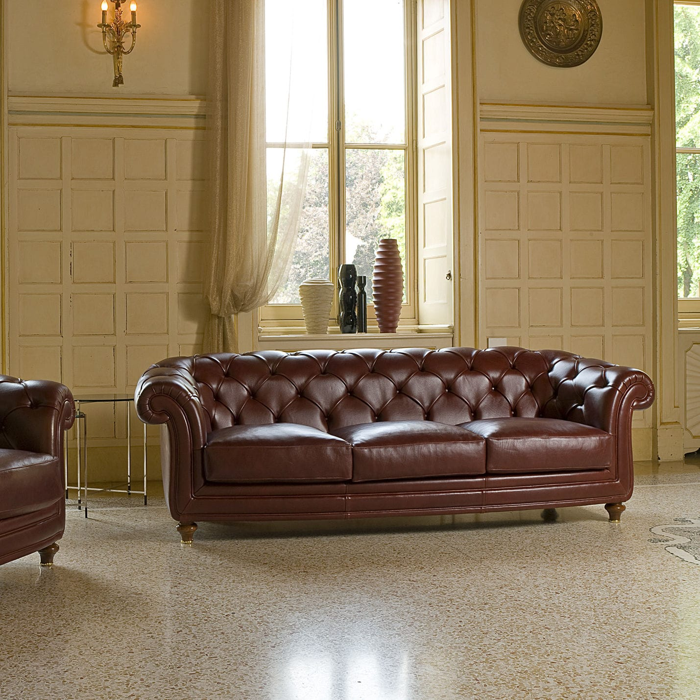 Chesterfield sofa / leather / fabric / 3-seater - OXFORD - BERTO ...