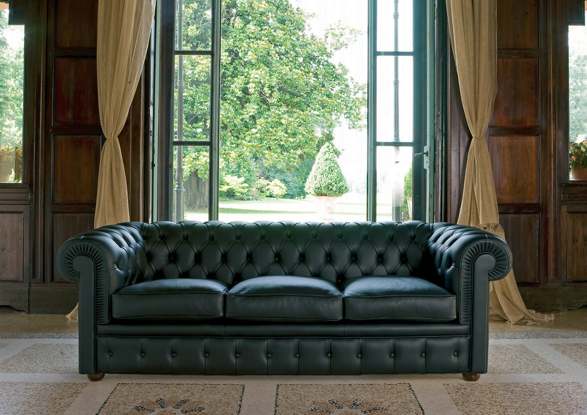 Sofa Bed Chesterfield Fabric Leather