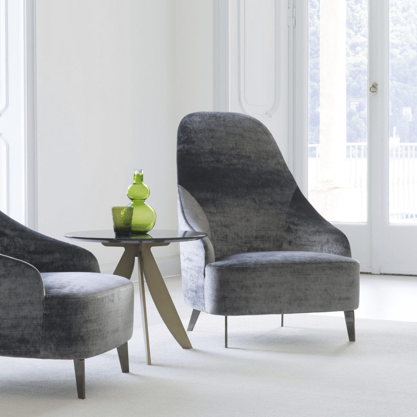 Contemporary armchair fabric leather high back VANESSA