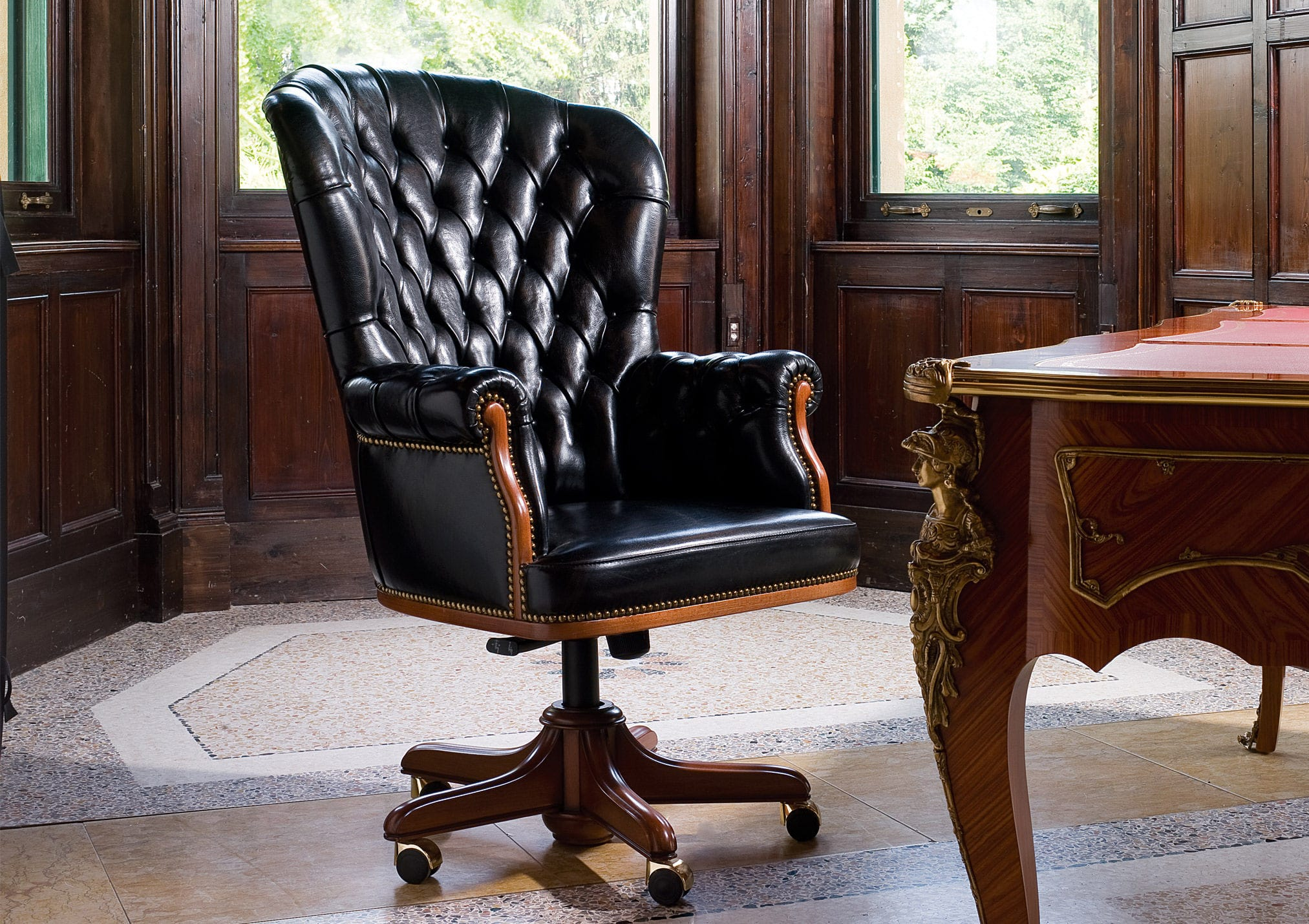 presidential office chair. chesterfield executive chair / wooden leather on casters presidential office