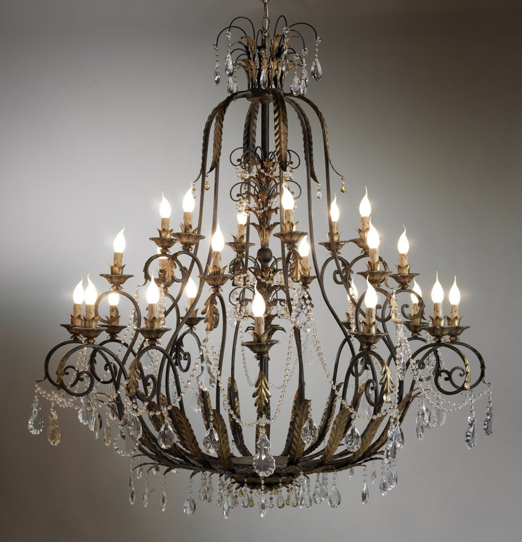 Classic chandelier crystal wrought iron incandescent BELL – Bell Chandelier