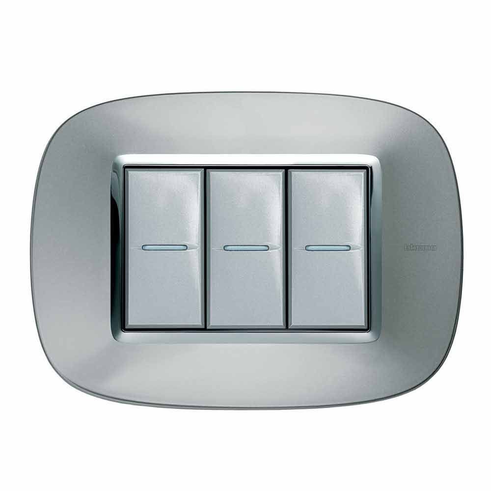 Light Switch Push Button Triple Stainless Steel Elliptical