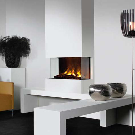 Electric Fireplace Contemporary Closed Hearth 3 Sided 3 Step