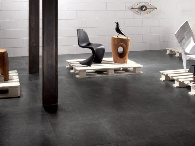 Indoor Tile Floor Porcelain Stoneware Matte Tag Black Ska