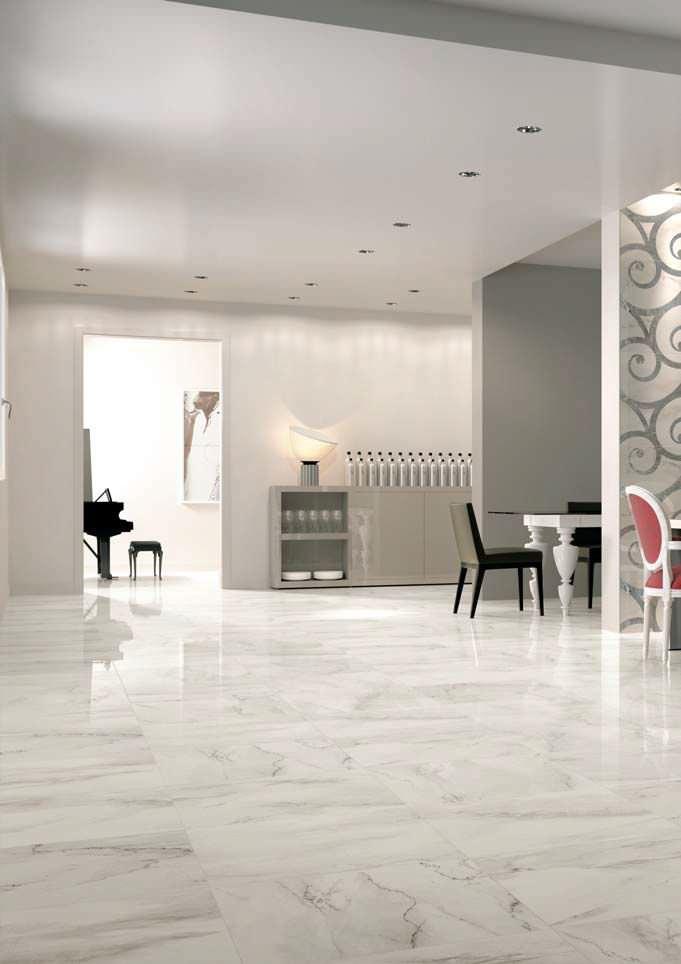 Floor tile / porcelain stoneware / polished / marble look - VEINS :  CALACATTA