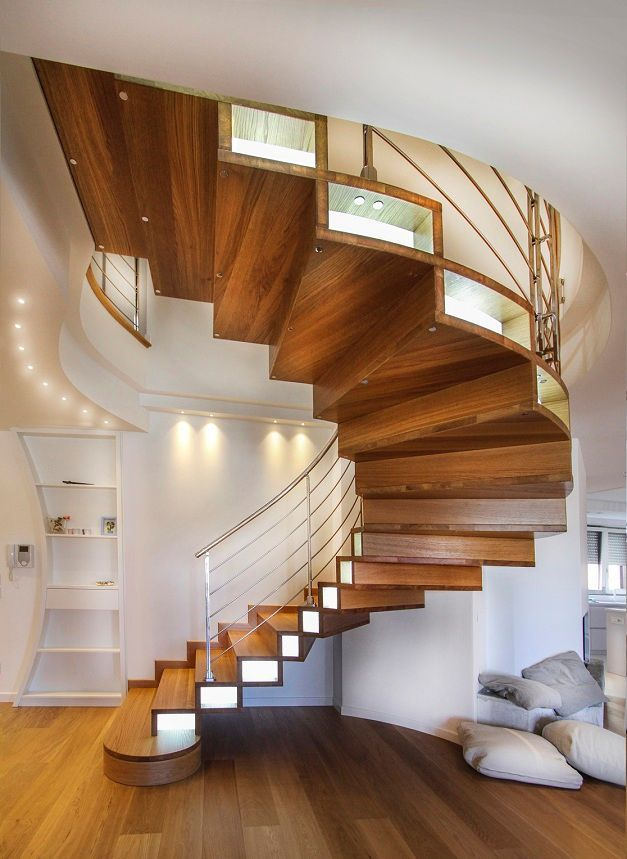 Merveilleux ... Half Turn Staircase / Circular / Wooden Frame / Wooden Steps