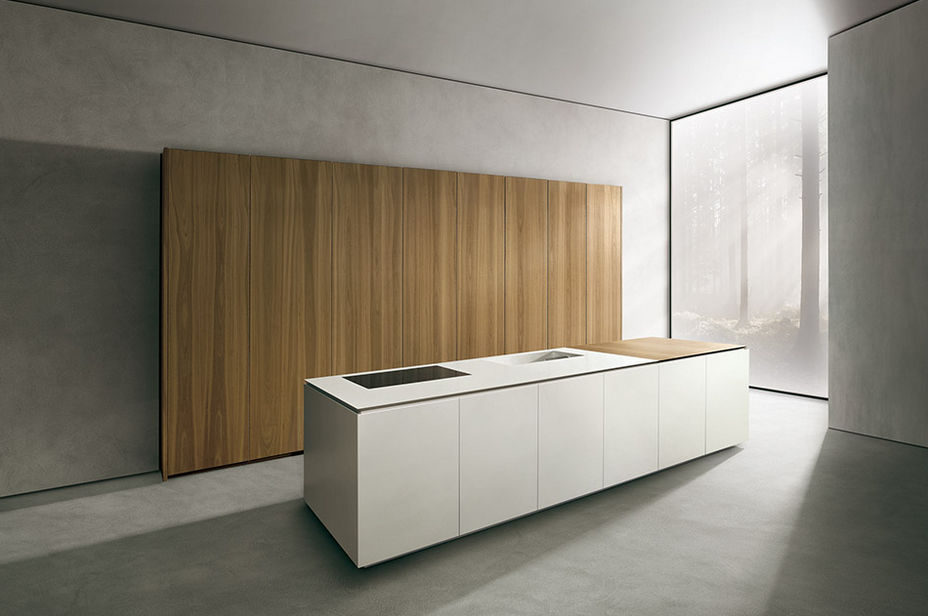 Contemporary kitchen / wooden / Corian® / island - ALIAS - MK CUCINE