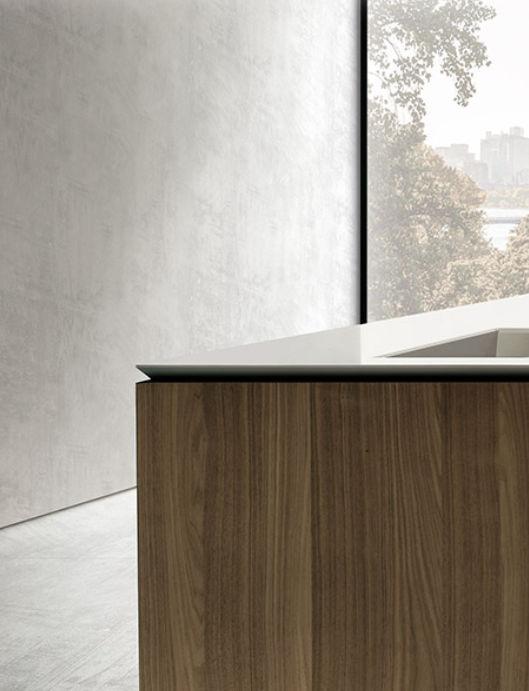 Contemporary kitchen / wooden / Corian® / island - 045 - MK CUCINE