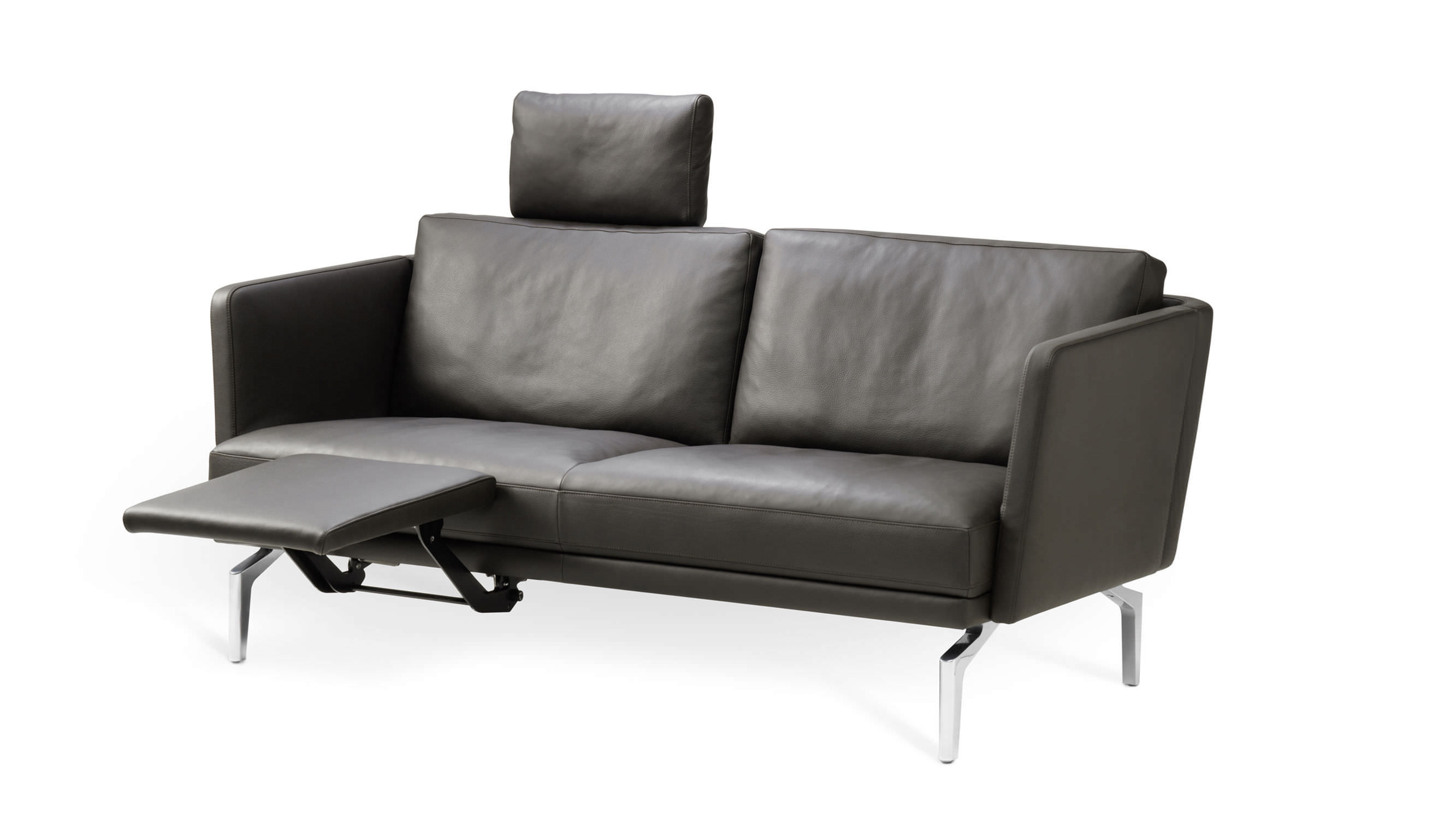 Compact sofa / contemporary / leather / fabric - 1262 FRAME by ...