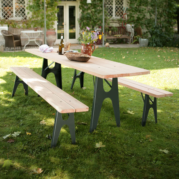 ... contemporary bench and table set / steel / wooden / garden ... & Contemporary bench and table set / steel / wooden / garden - LUDWIG ...