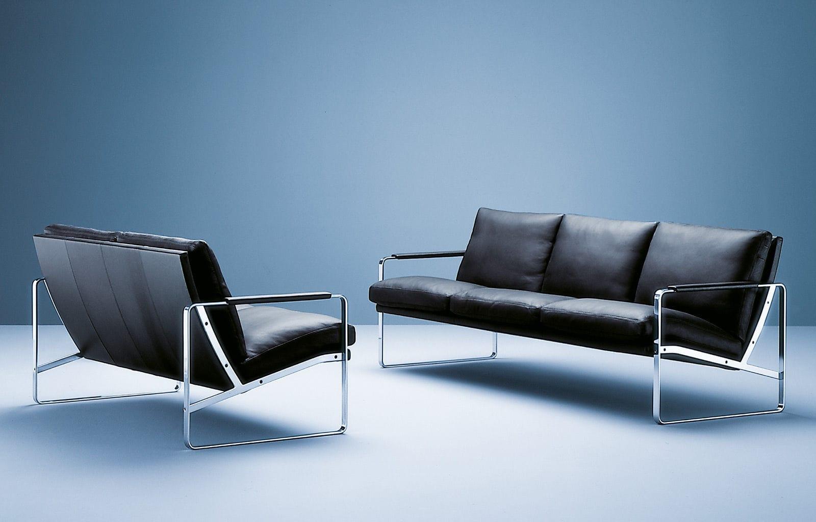 Contemporary sofa leather 3 seater black fabricius by contemporary sofa leather 3 seater black fabricius by preben fabricius walter knoll parisarafo Gallery
