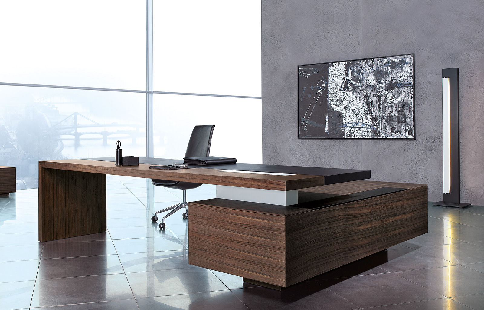 Executive Desk Wooden Leather Contemporary
