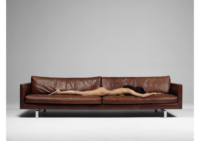 Contemporary Sofa Leather 4 Seater Brown