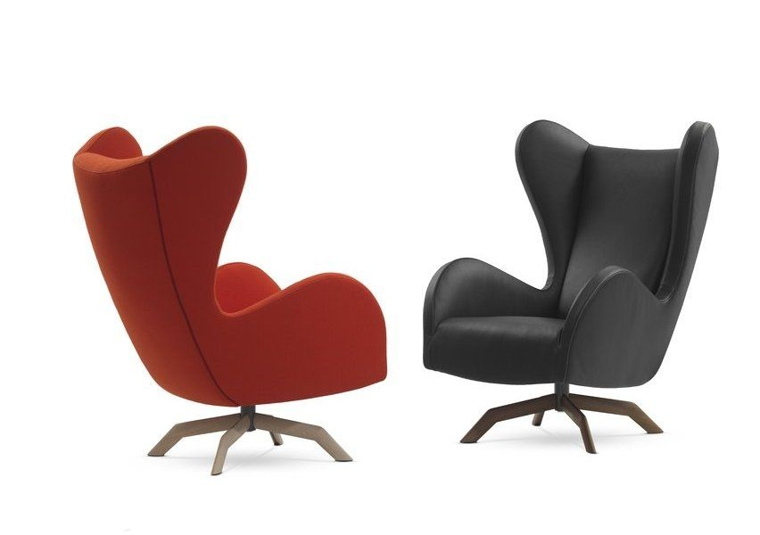 Ohrensessel modern  Classic armchair / fabric / swivel / star base - FELIX by Gijs ...