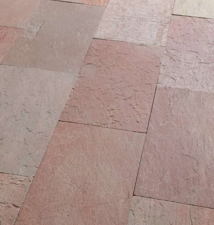 Indoor Tile Floor Natural Stone Patterned Floor Pink Artesia